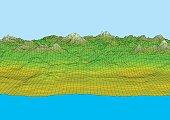 Retro styled futuristic landscape with mountains range and sea