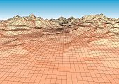 Retro styled futuristic landscape with mountains range