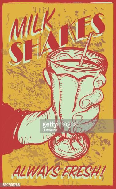 ilustrações, clipart, desenhos animados e ícones de estilo retrô sinal de milk-shake - milk shake