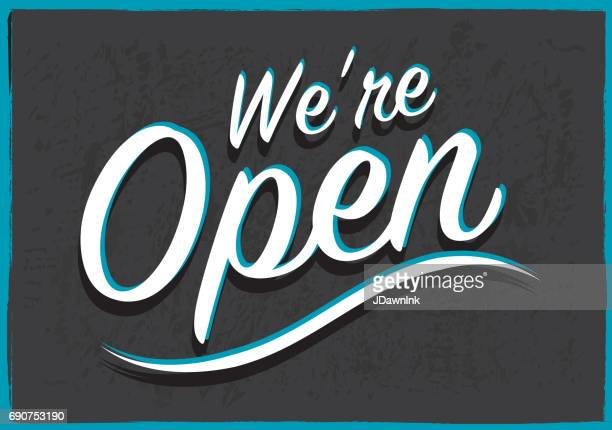 retro styled open sign - open sign stock illustrations, clip art, cartoons, & icons