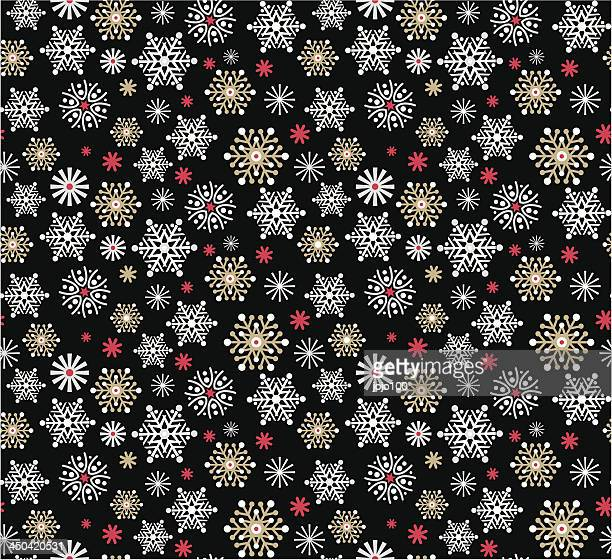 Retro Styled Snowflake Pattern Repeat