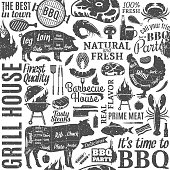 Retro styled typographic vector barbecue seamless pattern or background