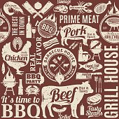 Retro styled typographic vector barbecue seamless pattern