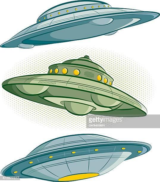illustrations, cliparts, dessins animés et icônes de style rétro ufos - extraterrestre