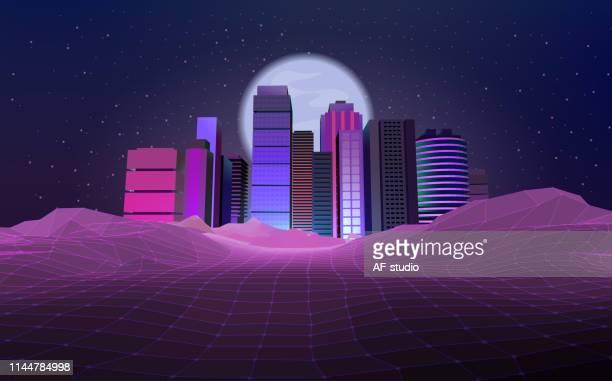 Retro styled Urban Skyline, City