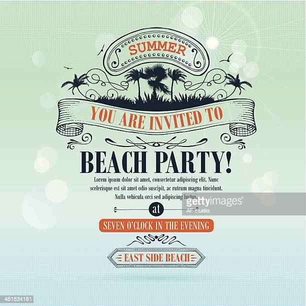 Retro stylised background with party invitation