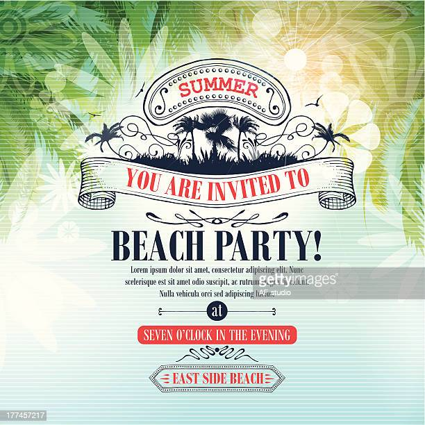 Retro stylized background with party invitation