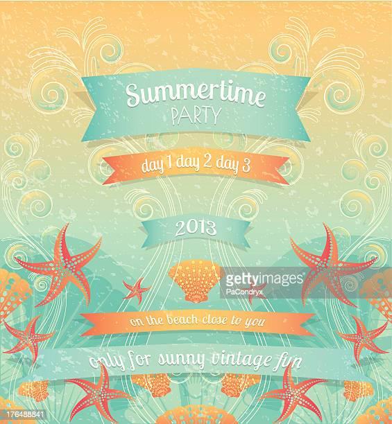 ilustraciones, imágenes clip art, dibujos animados e iconos de stock de fiesta de playa verano retro - concha de mar