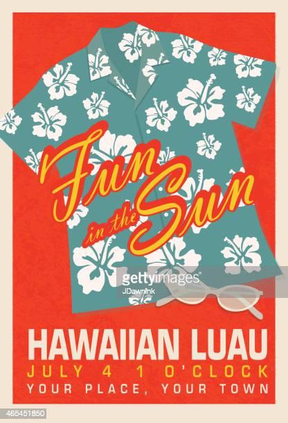 Retro Summer blue Hawaiian Luau shirt invitation poster design template