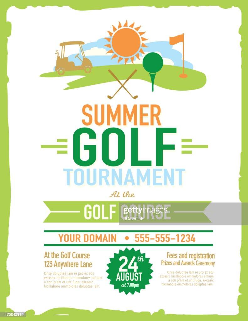 retro summer golf tournament with golf cart invitation design