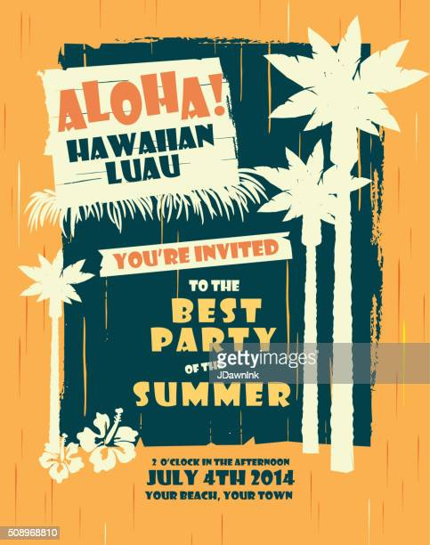 Retro Sommer Hawaiian Luau-party design-Vorlage