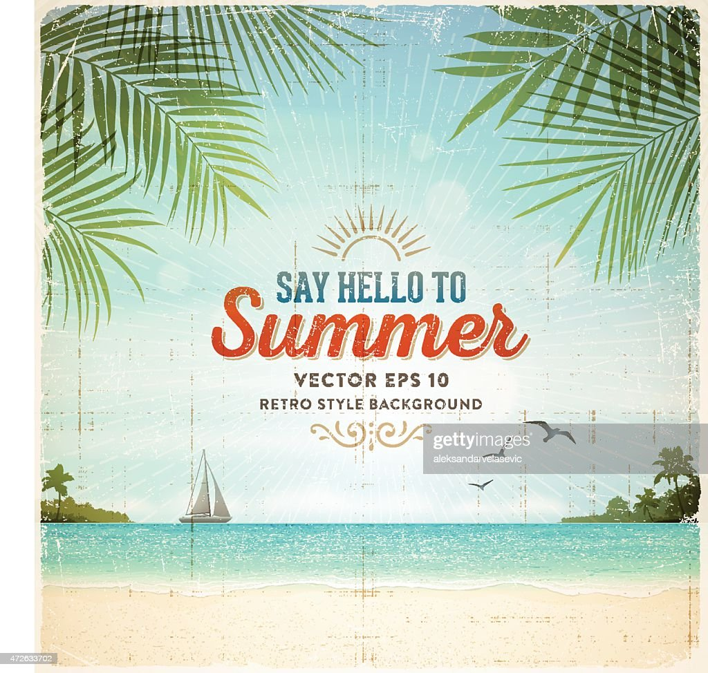 Retro Summer Holiday Poster Background : stock illustration