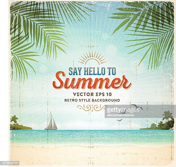 retro summer holiday poster background - beach stock illustrations