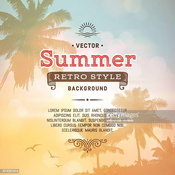 retro summer holiday poster background - summer stock illustrations