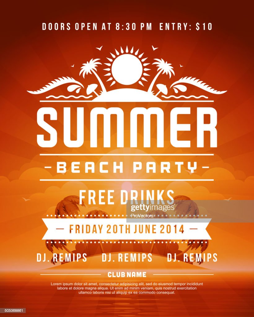 Retro summer party design poster or flyer
