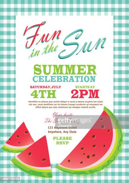 retro summer party template invitation design checkered turquoise tablecloth - picnic stock illustrations