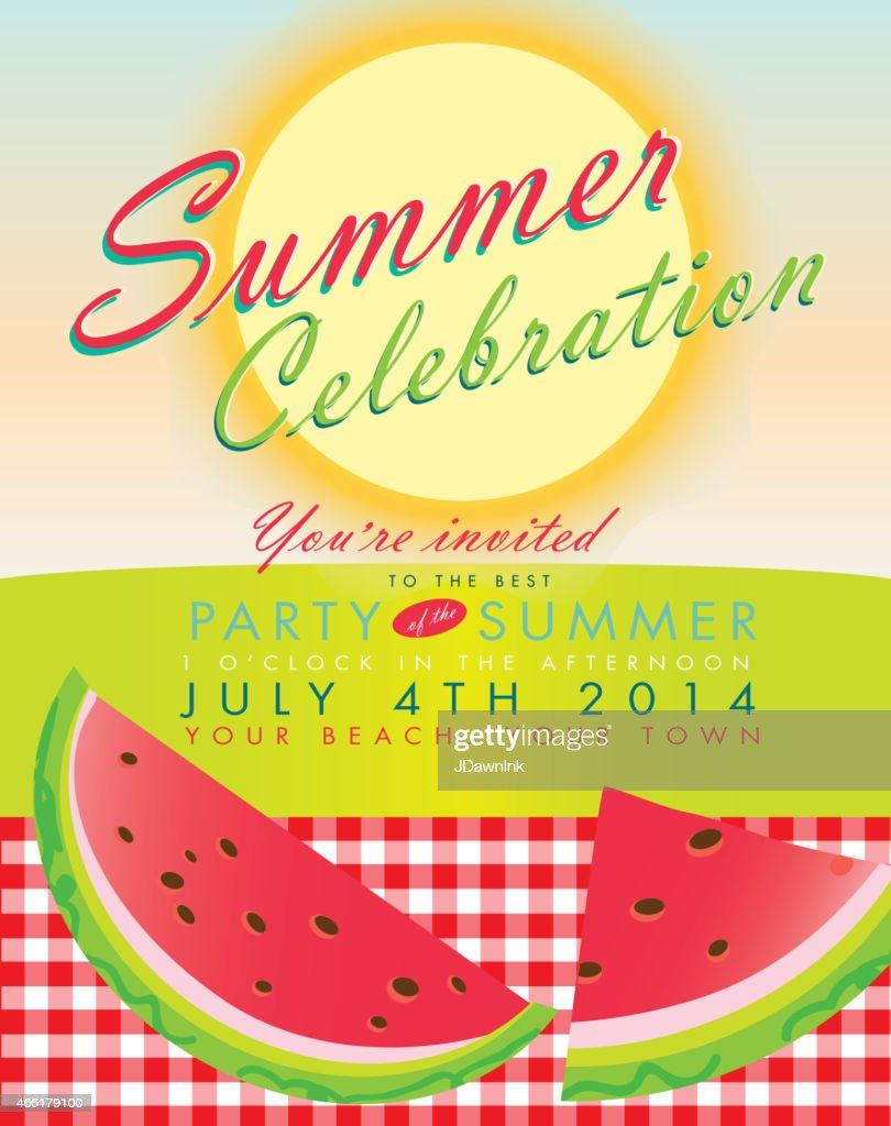 retro summer party template invitation design watermelon and sun