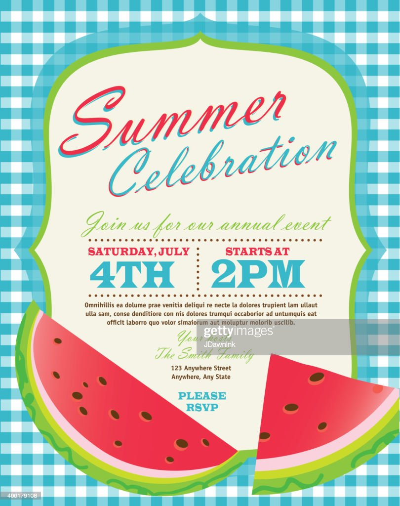 Retro summer party template invitation design with watermelon