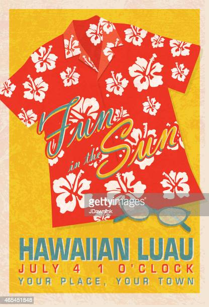 retro summer red orange hawaiian luau shirt invitation poster design - hawaiian shirt stock illustrations