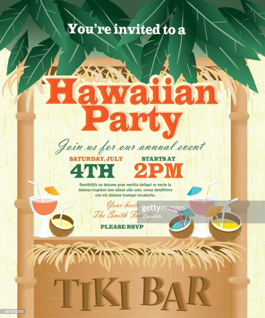 Retro Summer Tiki Bar Hawaiian Party Invitation Design Template ...