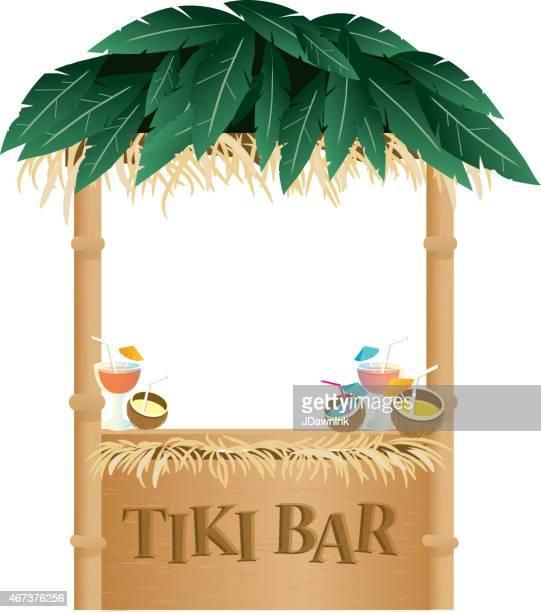 retro summer tiki bar on white background - coconut palm tree stock illustrations, clip art, cartoons, & icons