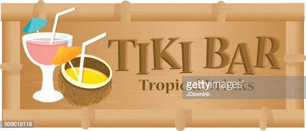 retro summer tiki bar sign on white background - coconut palm tree stock illustrations, clip art, cartoons, & icons