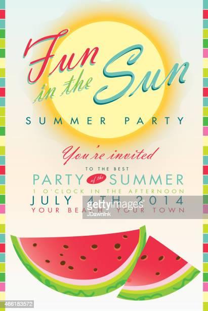 Retro summer watermelon and sun party template invitation design