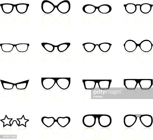retro sunglasses - black series - ophthalmology stock illustrations, clip art, cartoons, & icons