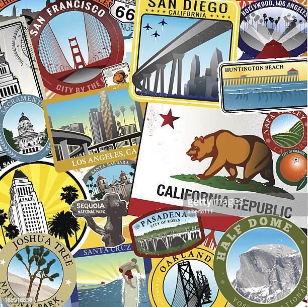 retro super california collage - huntington beach california stock illustrations, clip art, cartoons, & icons