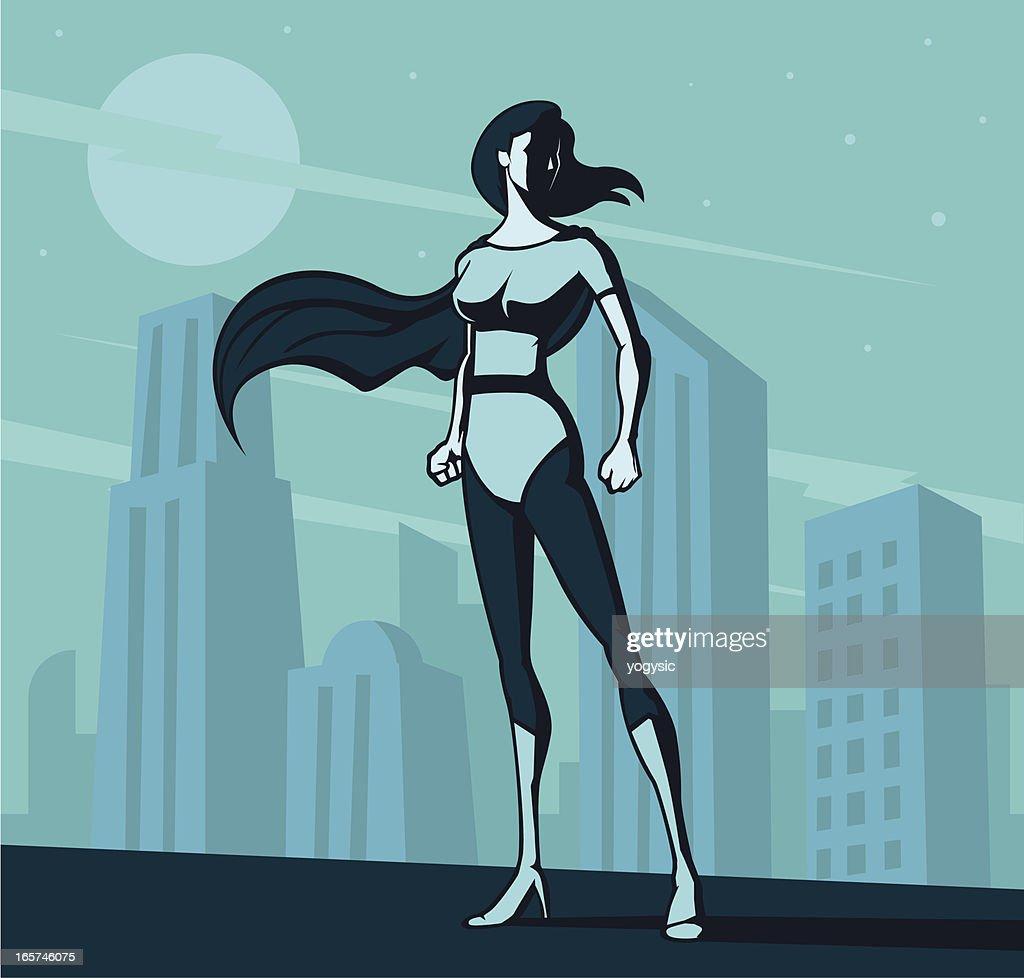 Retro super heroine poster : stock illustration