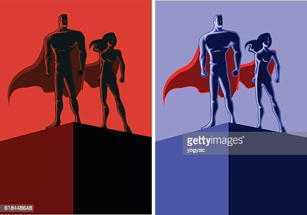 Retro Superhero Couple Copy Space