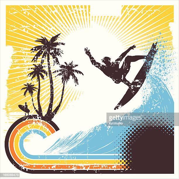 retro surfer in action - surf stock illustrations, clip art, cartoons, & icons