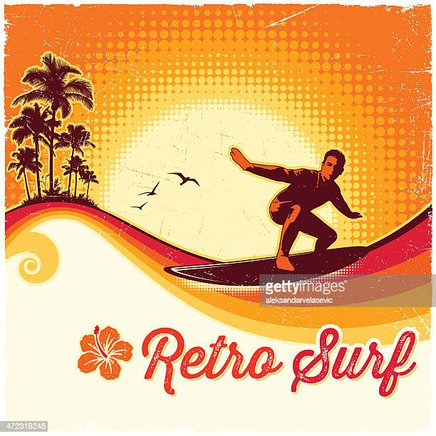 retro surfing background - surfing stock illustrations, clip art, cartoons, & icons