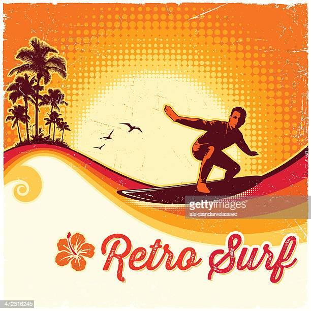 retro surfing background - surf stock illustrations, clip art, cartoons, & icons