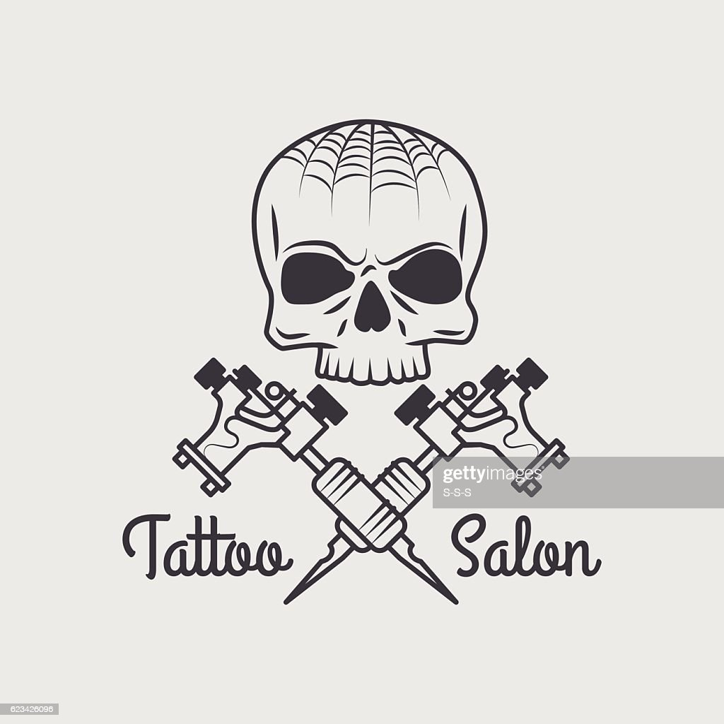 Retro tattooing shop emblem with skull