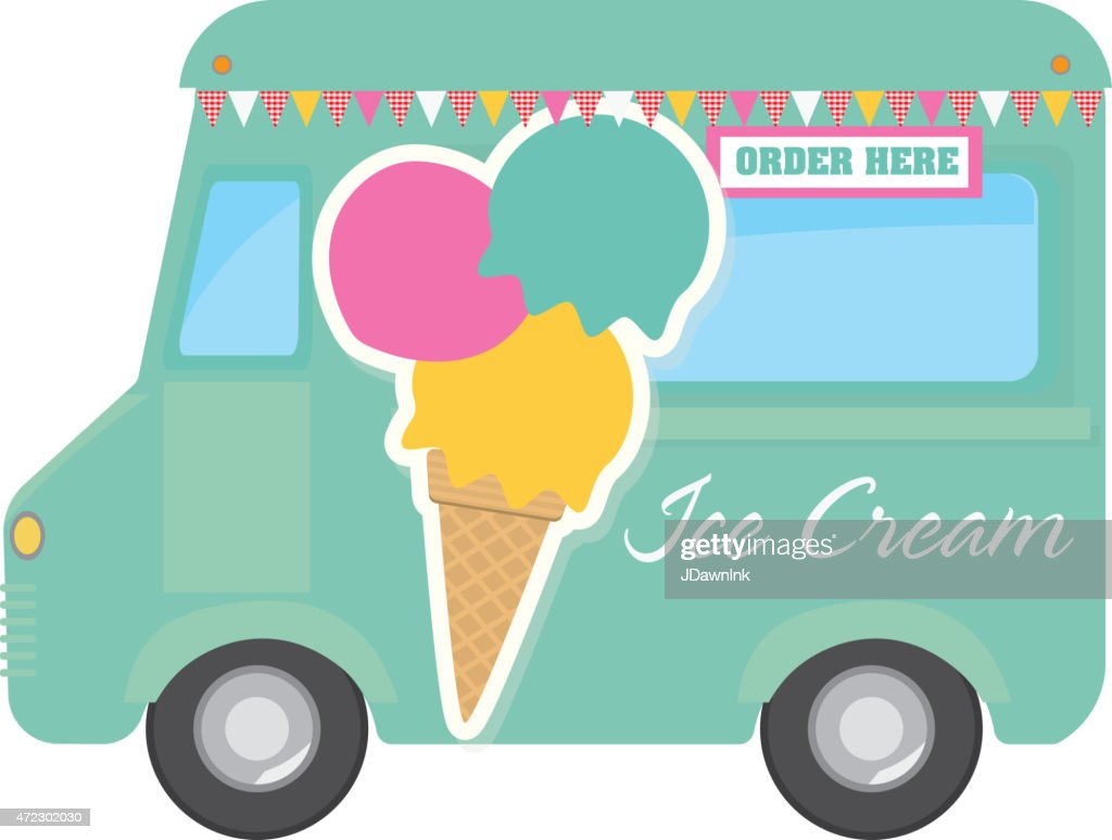 Retro Teal Ice Cream Food Truck With Text Design Vector Art