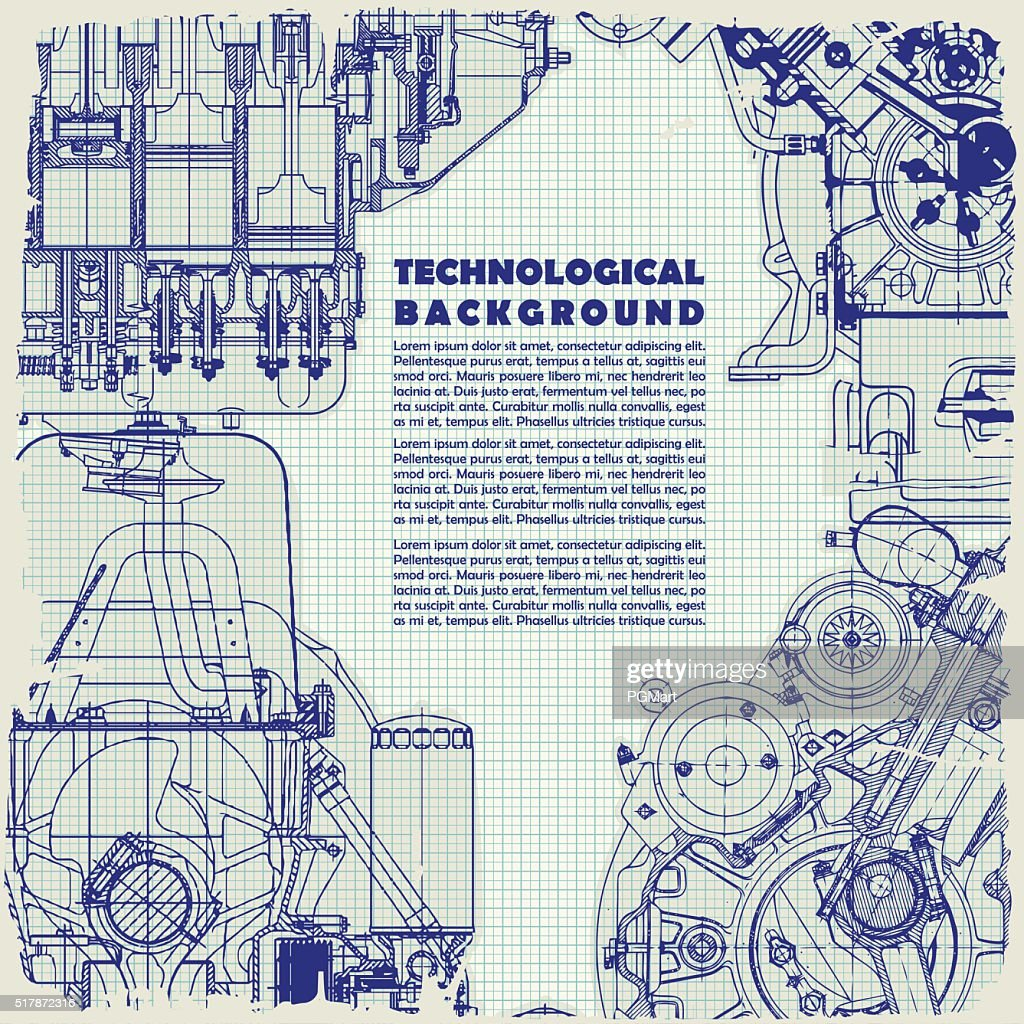 Retro   technical background, drawing  engine and space for your text.