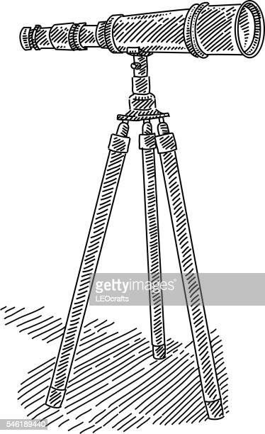 retro telescope with tripod drawing - camera tripod stock illustrations, clip art, cartoons, & icons