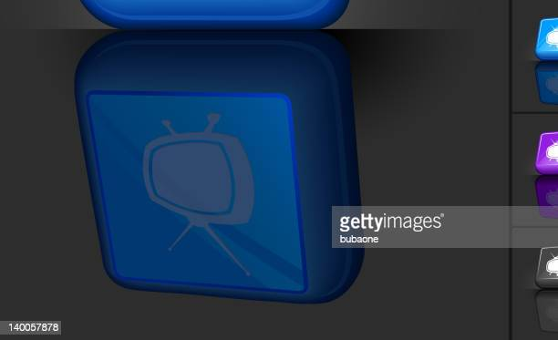 retro television 3d button design - television aerial stock illustrations, clip art, cartoons, & icons