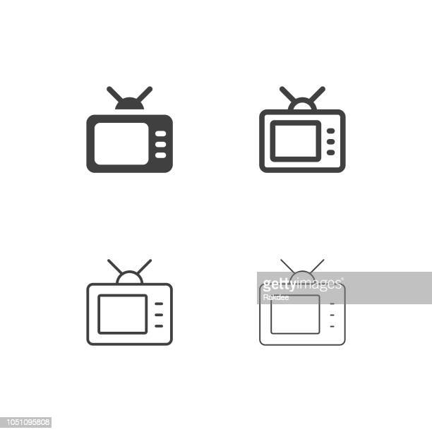 retro television icons - multi series - television industry stock illustrations