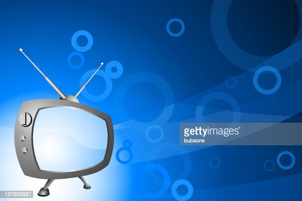 retro television on blue background - television aerial stock illustrations, clip art, cartoons, & icons