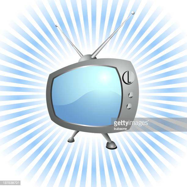 retro television set royalty-free vector background with glow effect - television aerial stock illustrations, clip art, cartoons, & icons
