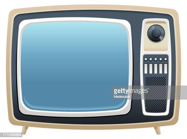 bildbanksillustrationer, clip art samt tecknat material och ikoner med retro tv - film and television screening