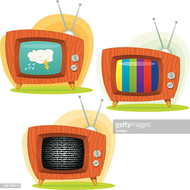 retro televisions - television aerial stock illustrations, clip art, cartoons, & icons