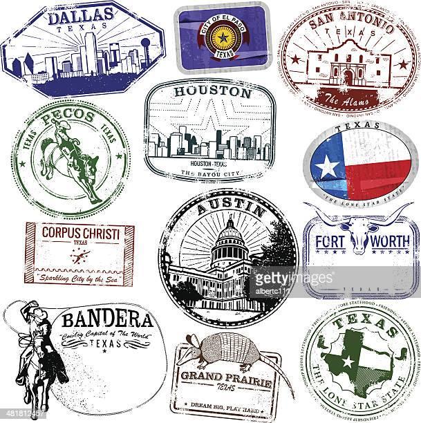 retro texas stamps - san antonio texas stock illustrations