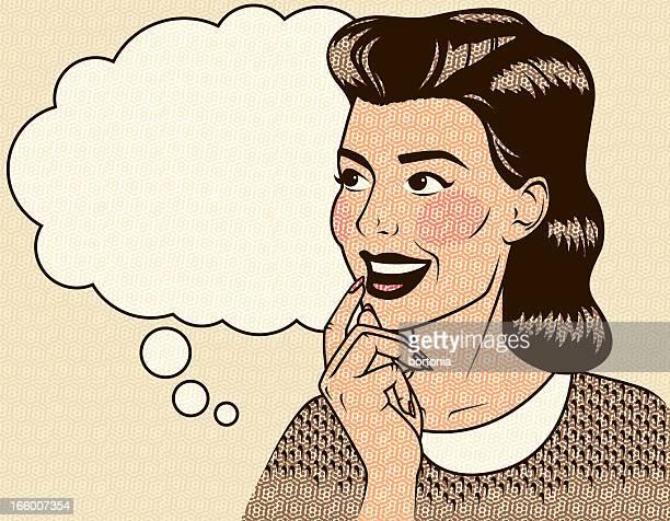 denken frau im retro - attraktive frau stock-grafiken, -clipart, -cartoons und -symbole