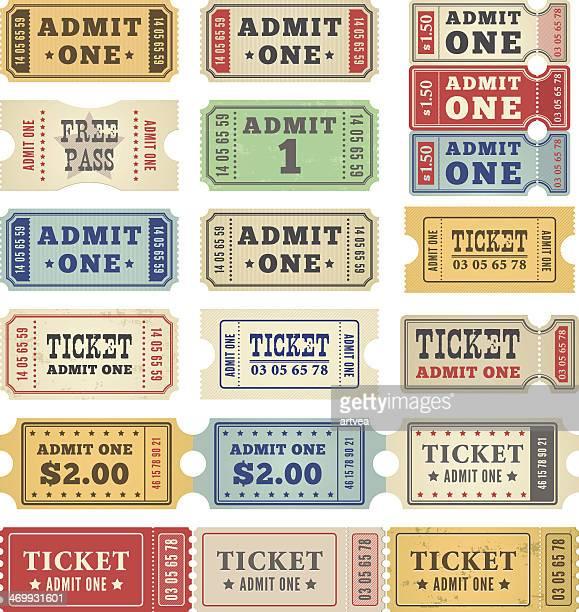 ilustrações, clipart, desenhos animados e ícones de ingressos coleção retro - papelão papel