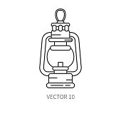 Retro travel kerosene gaslamp vector line icon. Summer travel vacation, tourism, camping equipment. Backyard classic rustic lunch. Outdoor family picnic sign and symbol. Nature trip. Hiking. Lifestyle
