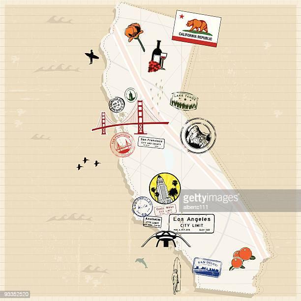 retro sie von kalifornien - kalifornien stock-grafiken, -clipart, -cartoons und -symbole