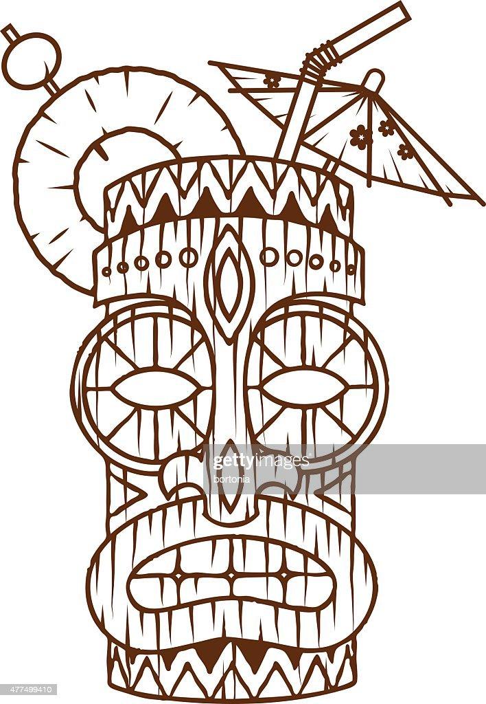 Retro Tropical Tiki Drink Line Art Icon